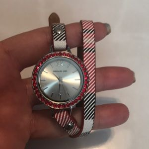 Christmas watch set, red twist face, sm bracelet